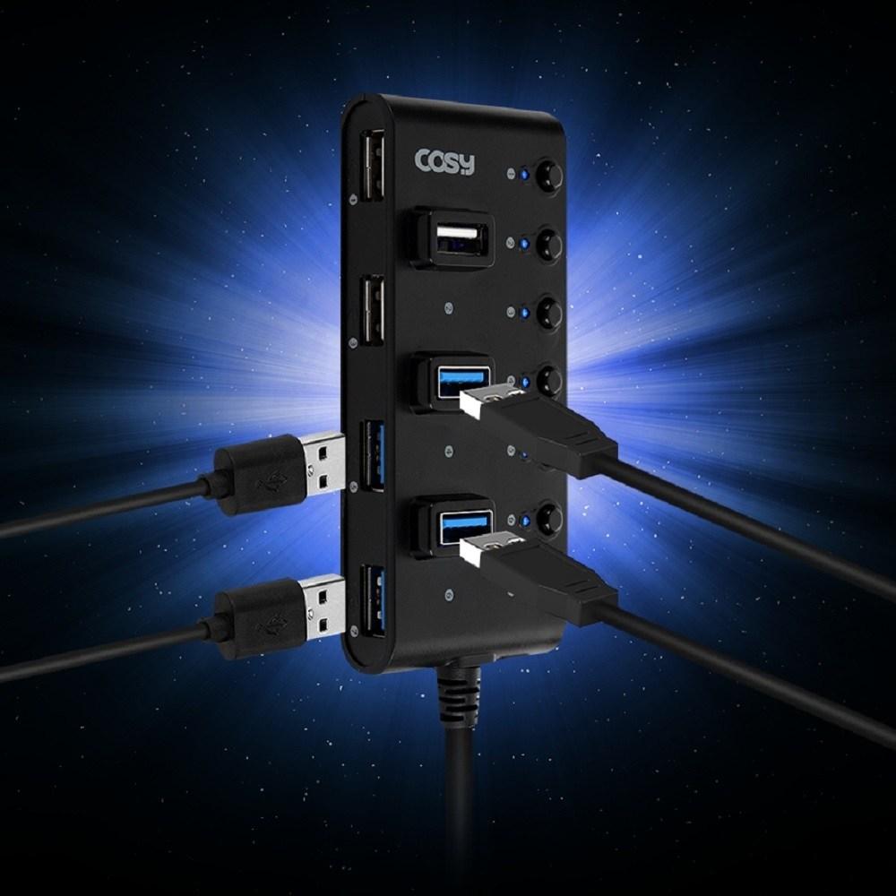 COSY 스위치 멀티탭 USB3.0 4포트 USB2.0 3포트 멀티 허브 확장 분배기 연결, 블랙