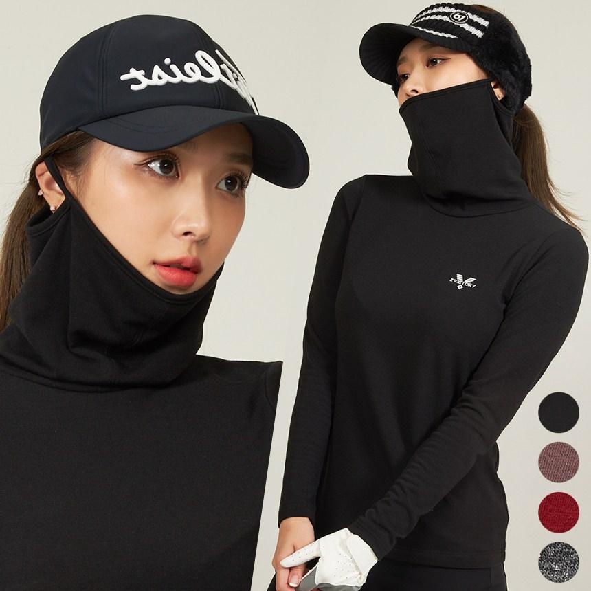 투빅토리 여자 기모 방한 마스크 티셔츠 여성골프웨어 넥워머 바라클라바 스포츠웨어, 블랙