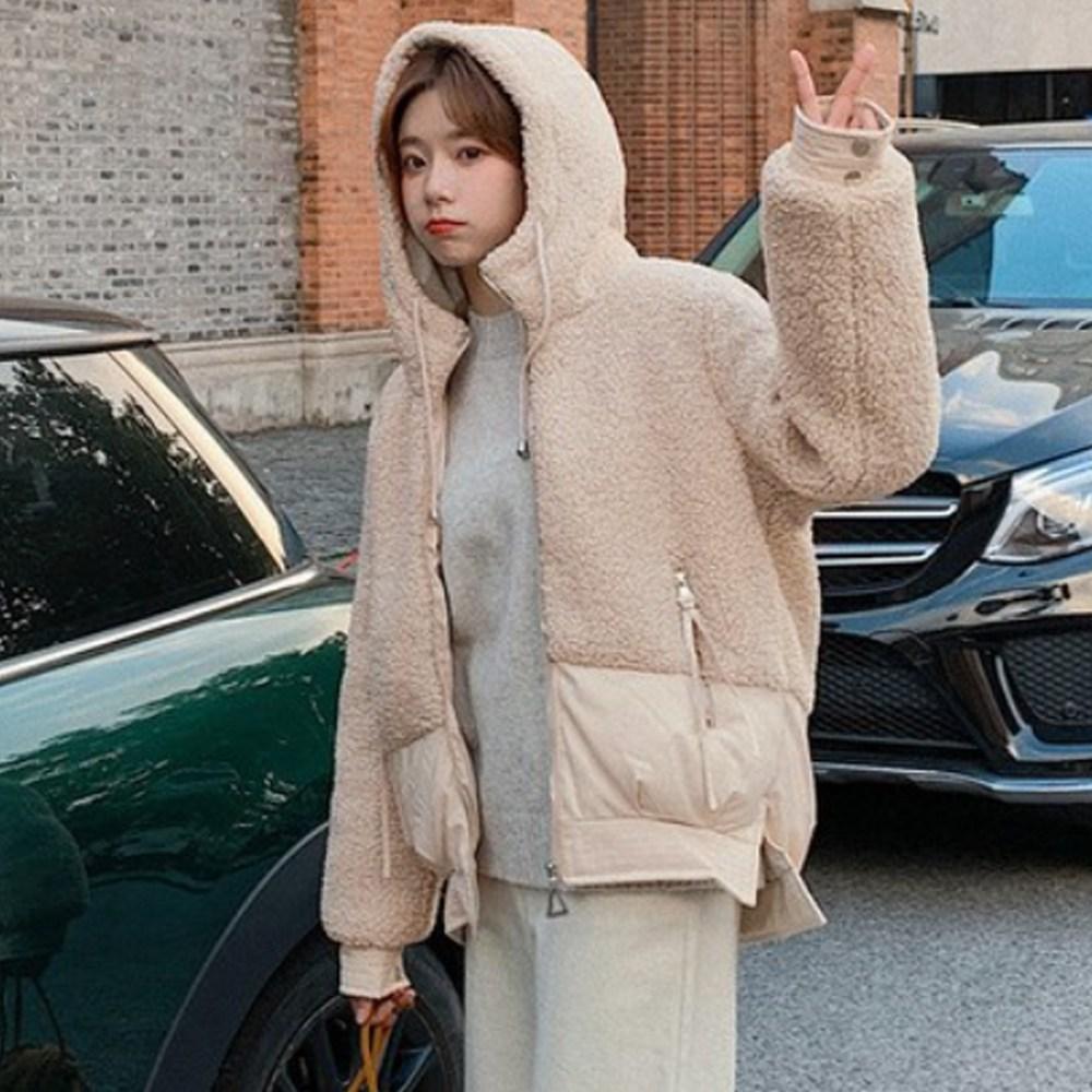 헤이슈 양털 패딩 누빔 뽀글이 후드 여성점퍼 자켓 겨울
