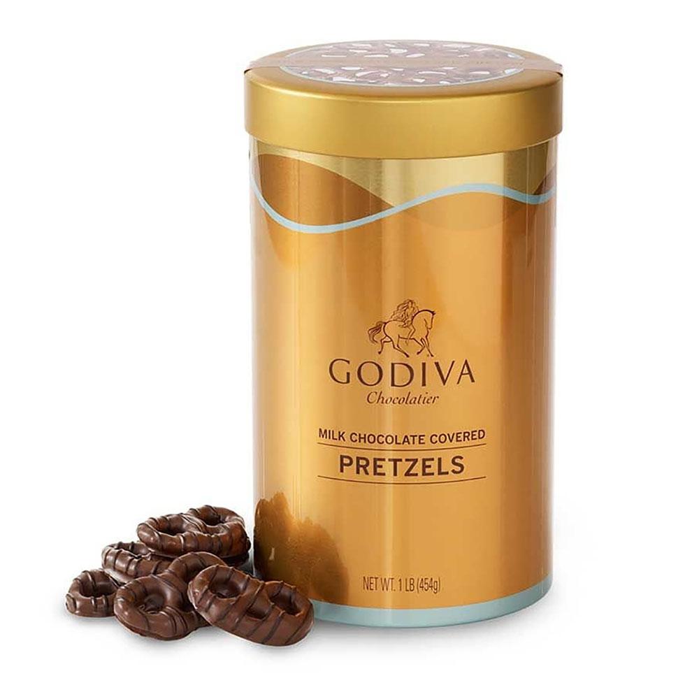 Godiva Milk Chocolate Covered Pretzels Gift Canister 고디바 밀크 초콜렛 프레첼 기프트 세트 16oz (454g), 1box