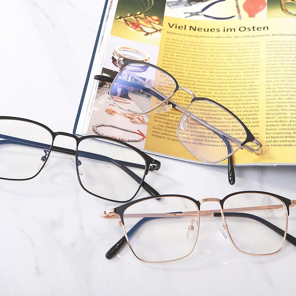 2047 사각 메탈 반테 반무테 하금테 안경 3컬러