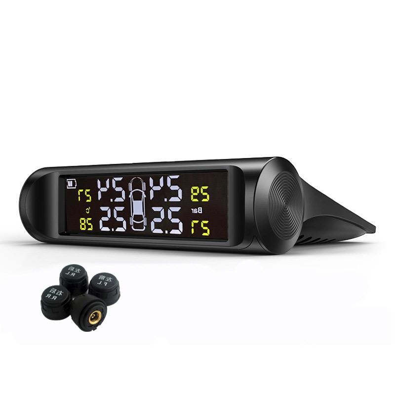 타이어 공기압 경보장치 TPMS 외장 센서 태양광 충전, 01외장흑백LCD