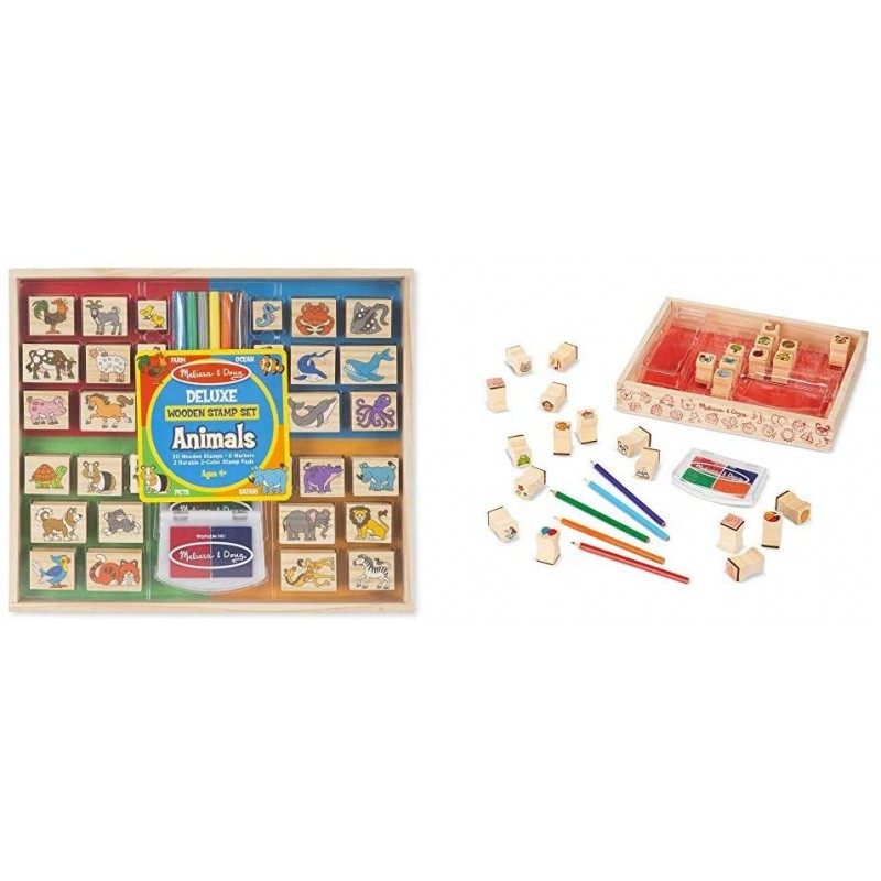 멜리사 & 더그 디럭스 우표 세트 애니멀 스탬프(4 5 6세 이상 최고) & 목재가 좋아하는 물건 스탬프 세트(4 5 6, 단일옵션