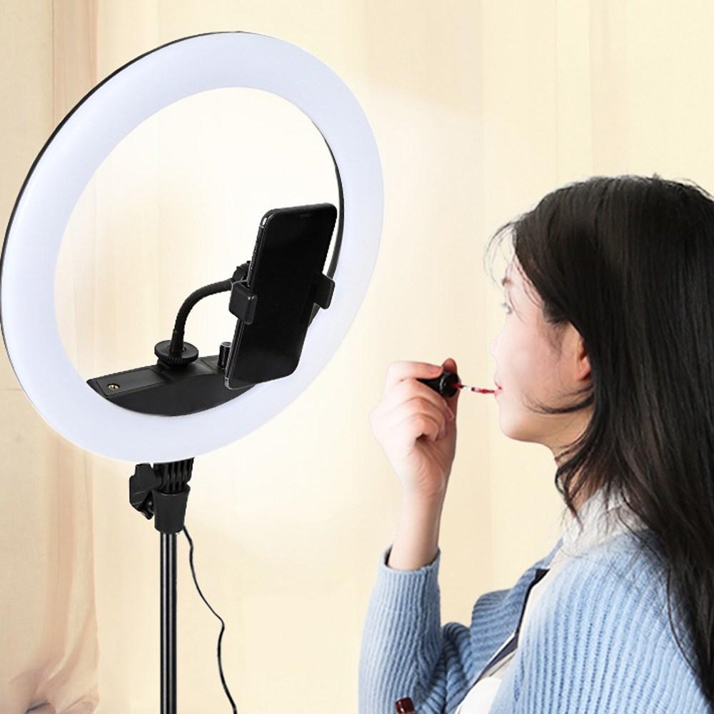스탠드 방송조명 LED 링라이트+삼각대 미니 촬영 조명 장비, 1개
