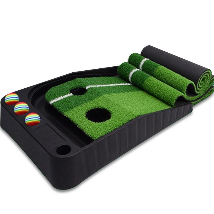 지티골프 저소음 밀리지않는 퍼팅 연습기 골프 레일 매트 일반형 2홀 오토리턴