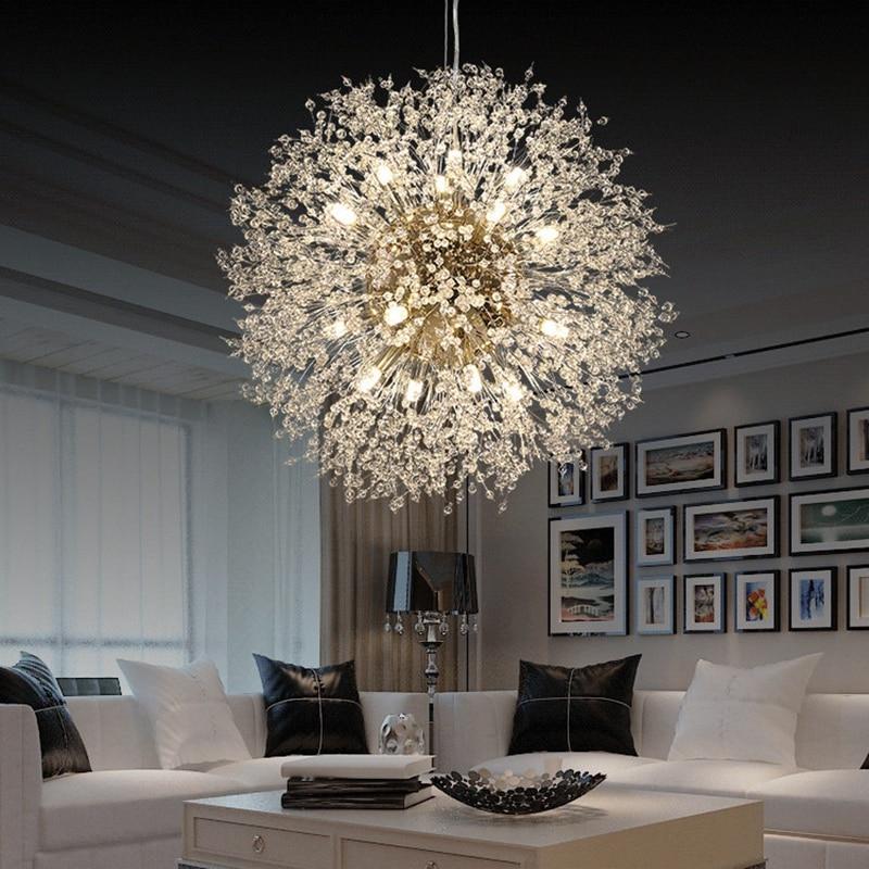 큰 거래 현대 크리스탈 샹들리에 조명 크리스탈 샹들리에 램프 LED 샹들리에 교수형 램프 민들레 샹들리에 레스토랑|인테리어 라이트|, 1개, 단일