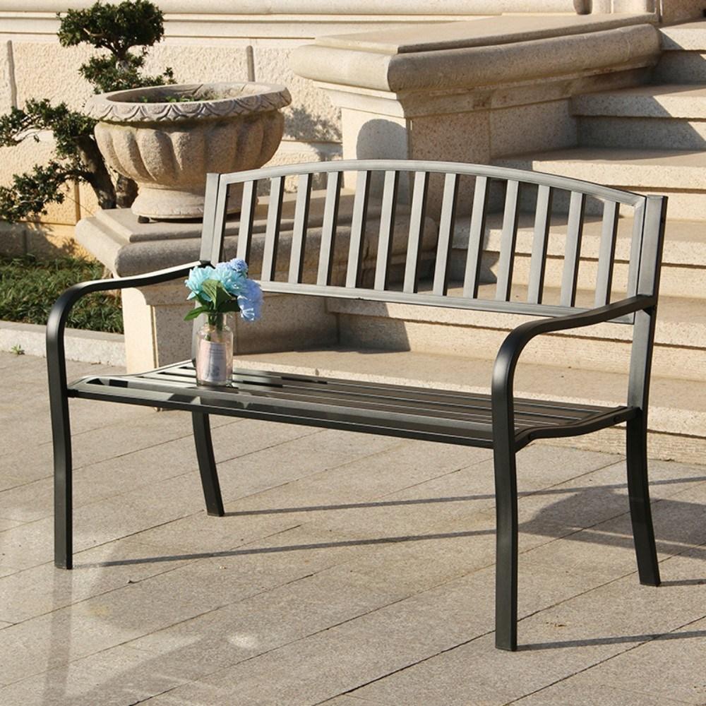 야외 정원 2인 벤치 철제 테라스 의자 마당 옥상 엔틱 카페 공원 전원주택, D.블랙 라운드