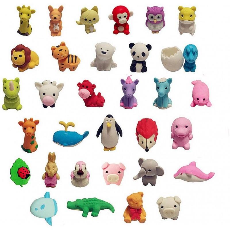 귀여운 지우개 34 개 미니 귀여운 동물 디자인 지우개 아이에게 선물 (색상 랜덤), 단일상품