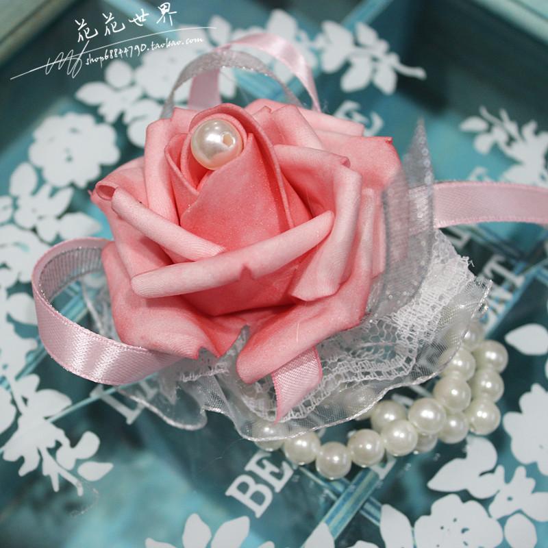 바이크영 모조꽃 신부 들러리 웨딩 용화, 다잉 라이트 핑크 꽃팔찌