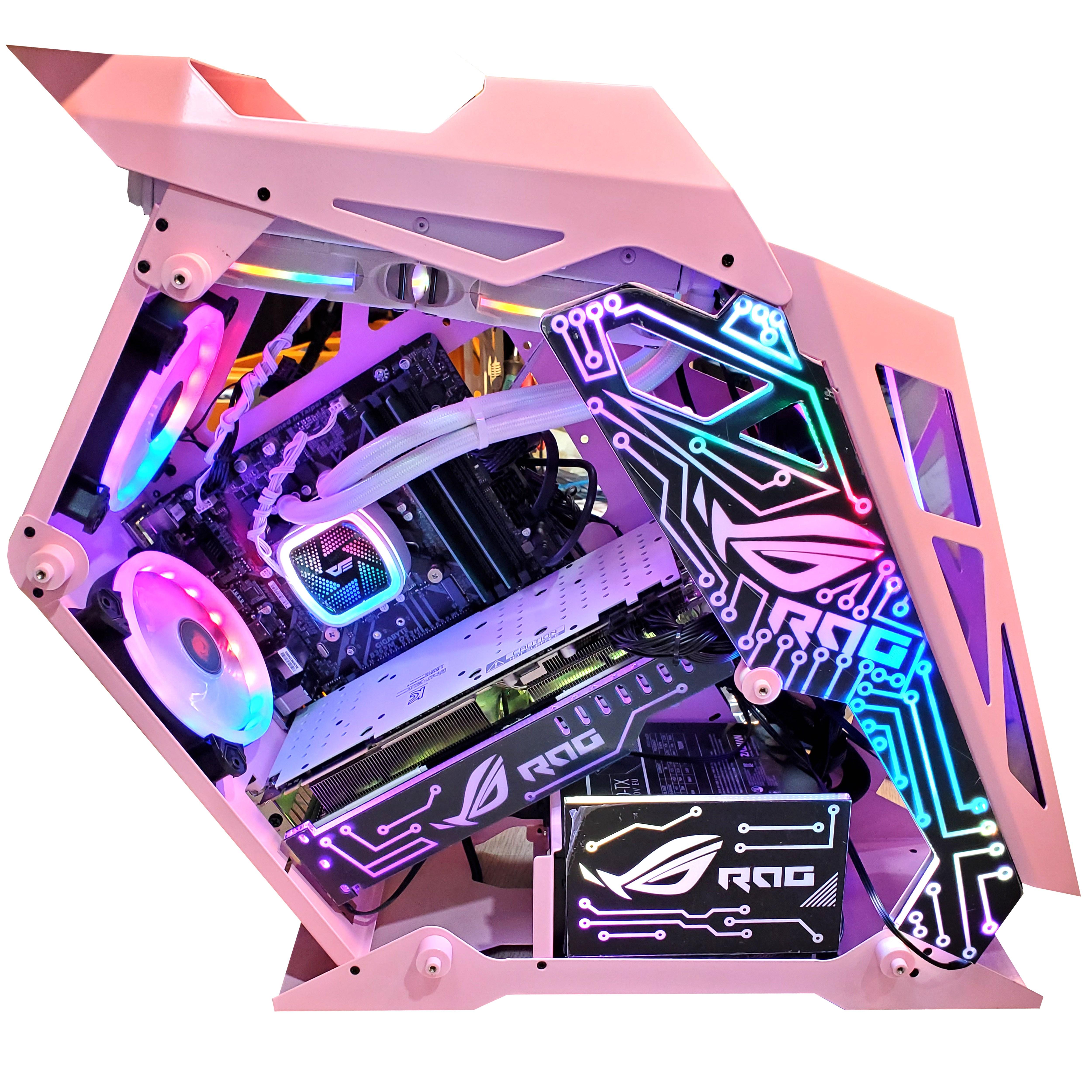 인싸컴 메탈유닛 LED 고사양 게임용pc 배틀그라운드 배그 오버워치 롤 배그컴퓨터, 기본, 핑크