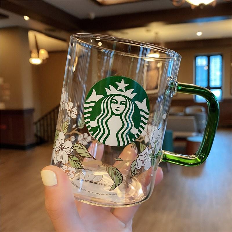 2020 스타벅스 새로운 녹색 핸들 대용량 유리 커피 컵 우유 컵 물컵, 스타벅스 유리컵 502 ml