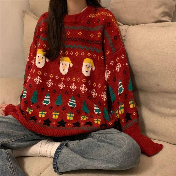 포린박스 루즈핏 크리스마스 캐릭터 겨울 니트 스웨터 SH