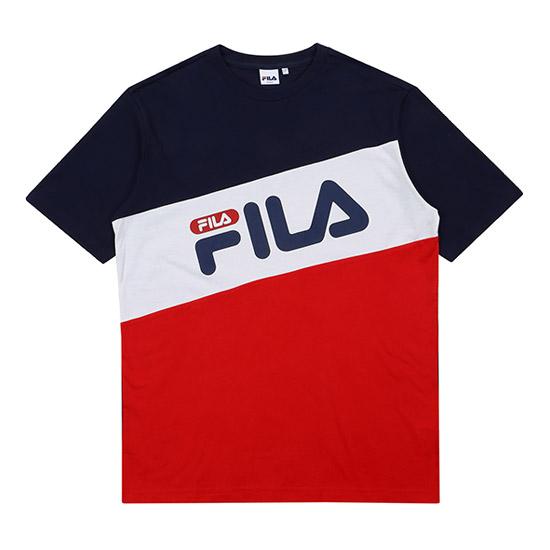 휠라 남녀공용 사선 컬러 배색티셔츠 FS2RSA2007X_INA 반소매