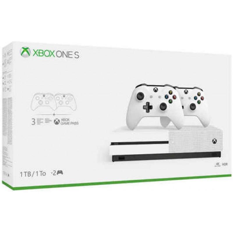 최신 플래그십 Microsoft Xbox One S 1TB HDD 번들 2 개 (2X) 무선 컨트롤러 1 개월 게임 패스 평가판, 단일상품