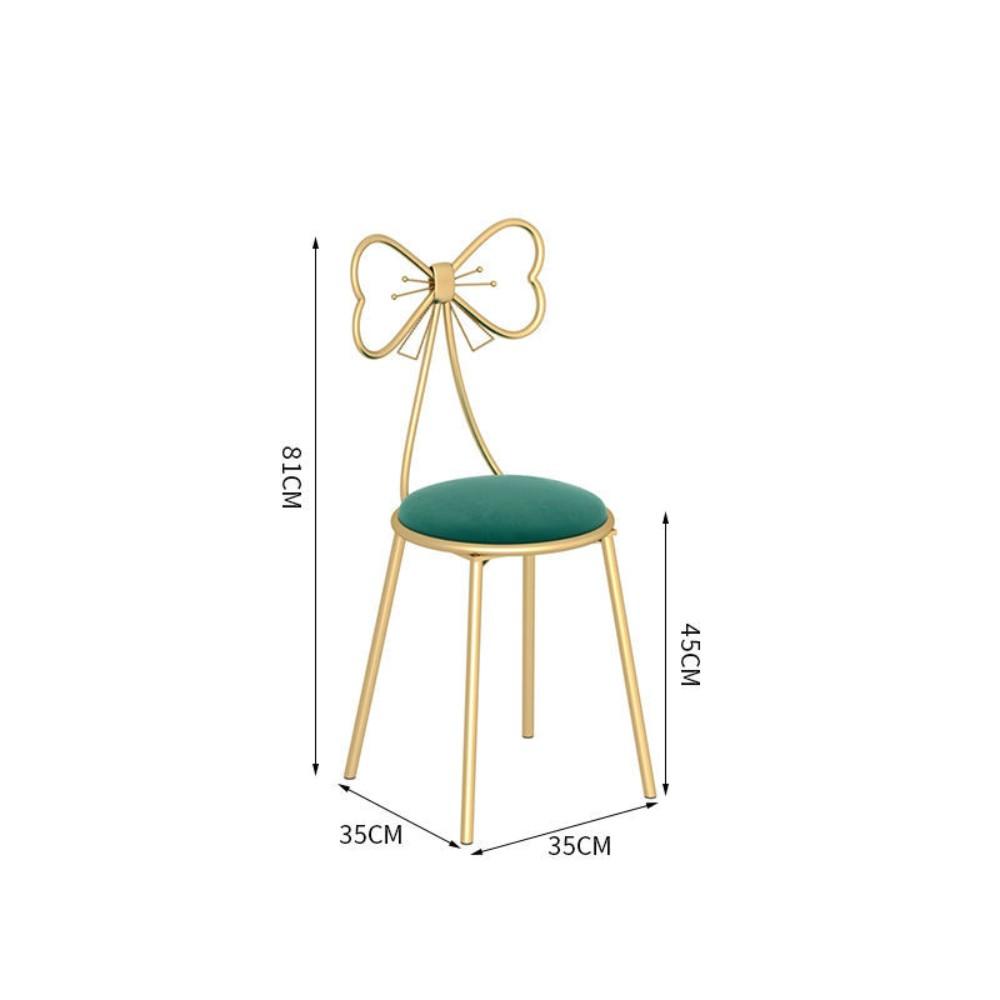 북유럽 의자 인테리어 등받이 메이크업 침실 카페 리본 화장대 거실 40대 엄마 생일 선물, E.나비의자 그린플리스방석 (POP 5592945405)