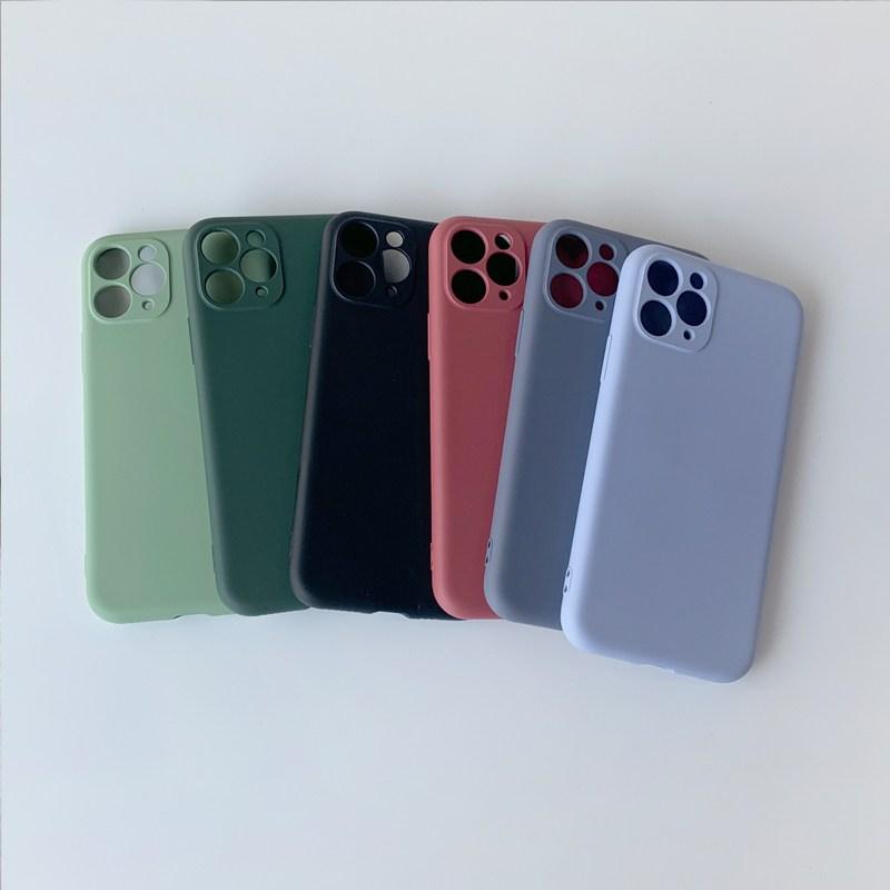 포앤디 카메라 풀커버 무지 실리콘 케이스 아이폰11시리즈 휴대폰