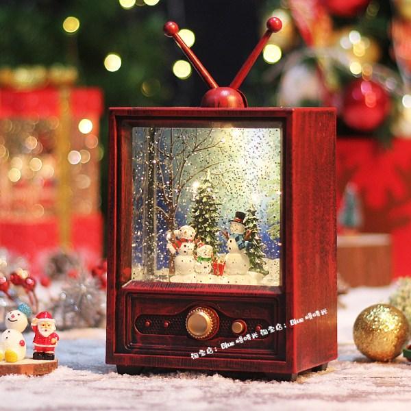 크리스마스 오브제 레트로 tv 오르골 집들이 선물 여자친구 성탄절 인테리어, 스노우맨 가족-텔레비전 레드박스 음악