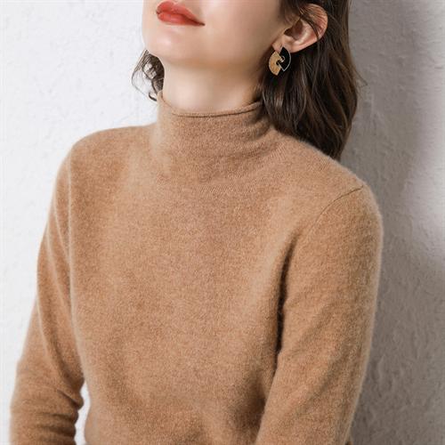 여성 캐시미어 니트 가을과 겨울 100 % 순수 울 스웨터 컬드 칼라 여성용 풀오버 하