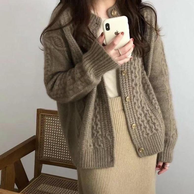 꽈베기 니트 스웨터 울 캐시미어 가디건(2C)