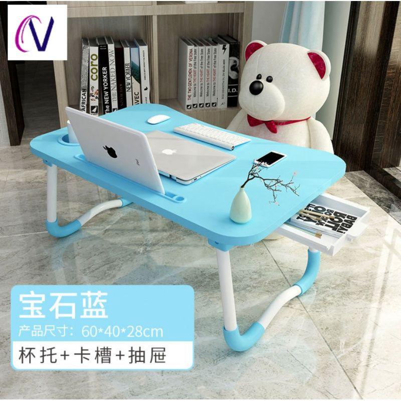 침대책상 침대용작은탁자 접이식 승강가능 높이올리는 침대용책상 컴퓨터책상 높힐수있는테이블 기숙사 침대위, T10-풀 블루