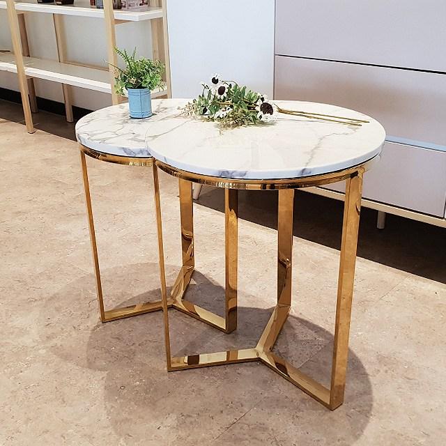가즈다가구 비나스 비앙코 대리석 골드 프레임 원형 거실 테이블, 01_비나스 원형_비앙코 L(로즈골드)