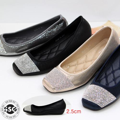 신신고 [당일 / 초경량] 여성 보석장식 발이편안한 푹신한 쿠션창 데일리 로퍼 단화 플랫슈즈 컴포트화 2.5cm 경량 낮은고무굽 글리터 다이아 착화감 굿