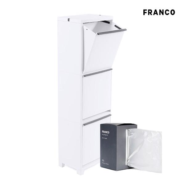창신리빙 프랑코 스탠드 분리수거함3단(60L)+비닐봉투 세트, 단일상품