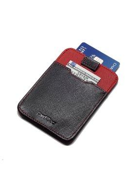 블랙 앤 레드 Saffiano 가죽제 스냅클러링 지갑   RFID 카드버클 지갑