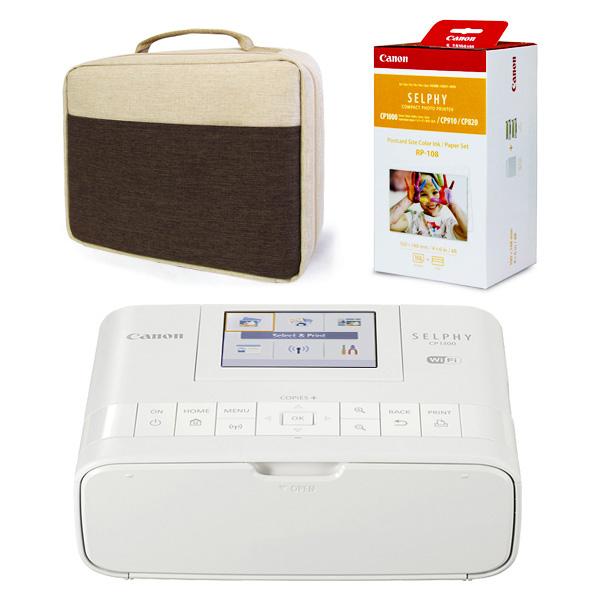 캐논 셀피 CP1300 포토프린터 세트, CP1300 화이트 + 인화지108매(잉크) + 파우치가방