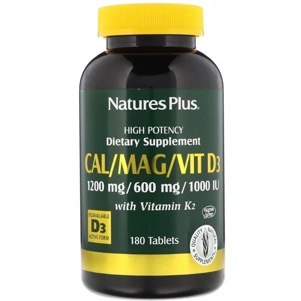 네이쳐스 플러스 칼슘 마그네슘 D3 비타민K2 포함 180정 알약, 180개, 1