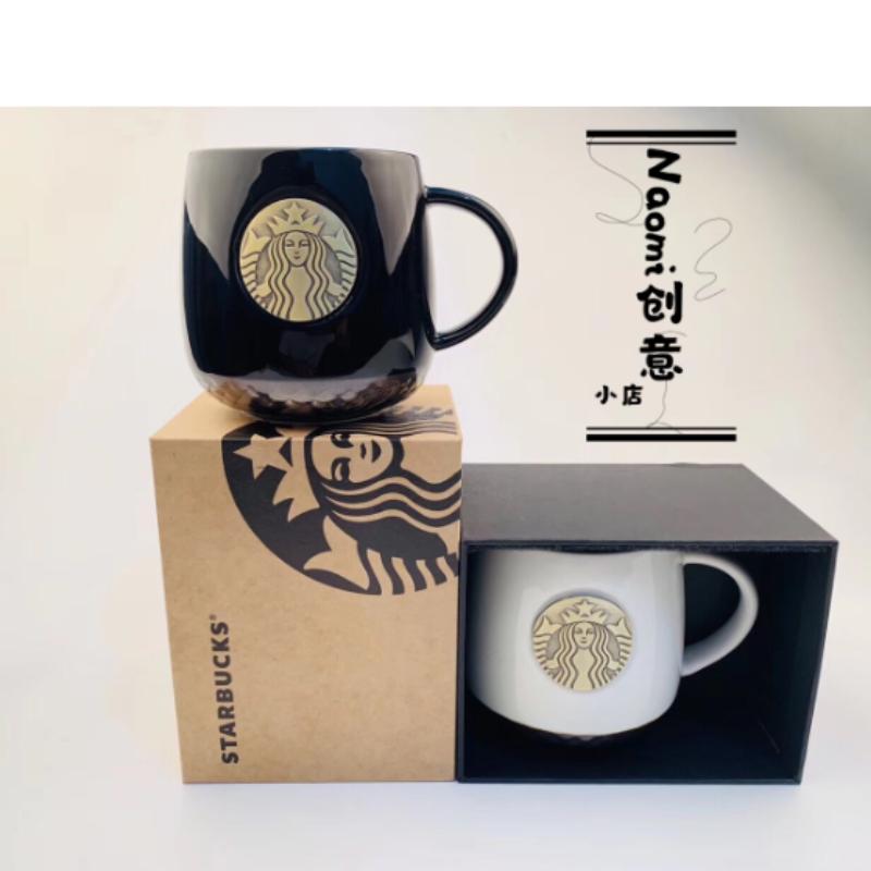 스타벅스 머그잔 흑백 세라믹 커피 컵 선물상자 414ml, 화이트