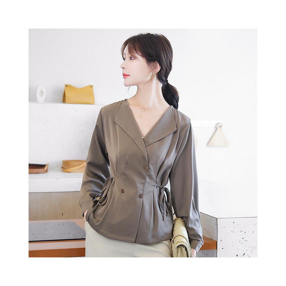 알지구 썸머 블라우스 실제 샷 2020 새로운 쉬폰 셔츠 여성의 패션 외국 스타일 작은 허리 슬리밍 탑