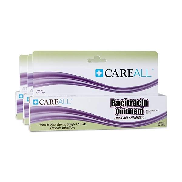 (3 팩) CareALL 1oz Bacitracin Antibiotic Zinc Ointment. 경미한 상처 찰과상 및 화상에 대한 감염을 예방하고 치유하는 응급 처치 연고. (POP 5722195777)
