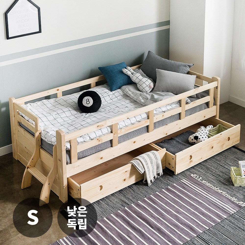 퍼니코 핀란드산 원목 제리코 싱글 침대(서랍포함)+낮은독립 스프링매트리스, 네추럴