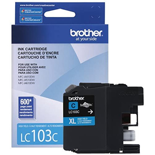 Brother LC-103Y DCP-J132 J152 J171 J4110 J552 J752 MFC-J245 J285 J4310 J4410 J450 J4510 J870 J875 Ink Cartridge Yellow in Retail Packaging, 본문참고, 옵션 3 Color = Cyan