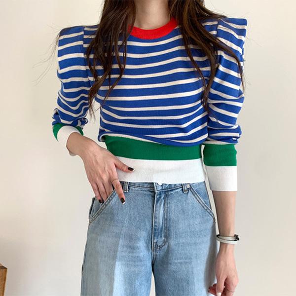 w2023 컬러풀 퍼프소매 스트라이프 여성 니트 티셔츠