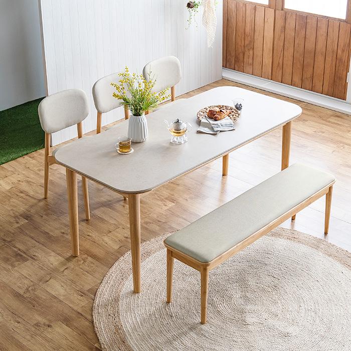 레이디가구 데이지 포세린 12T 통 세라믹 원목 식탁세트 4인용 6인용, 01. 4인 벤치1+의자2_[화이트마블]