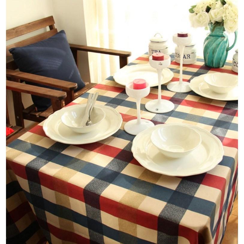 크리스마스 테이블보 북유럽 스타일 체크 무늬 러너 식탁보 2사이즈, 소(120x80)