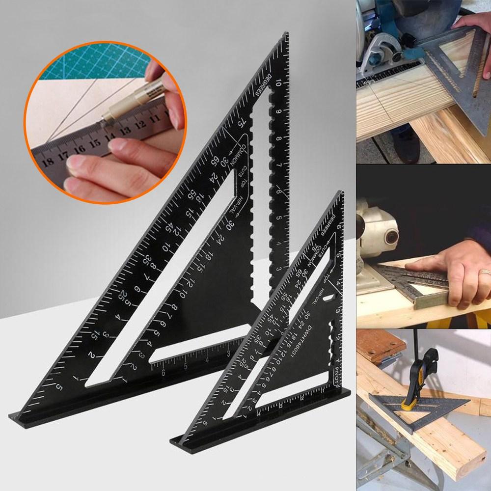 알루미늄 목공자 목공 직각자 각도자 목공용 삼각자 목공각자 직각삼각자, 삼각자 7인치