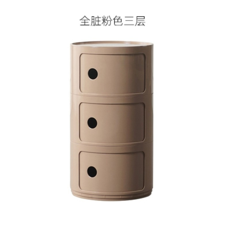 인테리어 카르텔 콤포니빌리 원형 원통 코너 서랍장 캐비닛 포인트 거실 침실 수납 협탁, G.3단 + 완제품