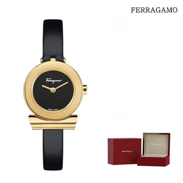 페레가모 페라가모 간치노 블랙다이얼 골드케이스 여성 블랙 가죽 시계