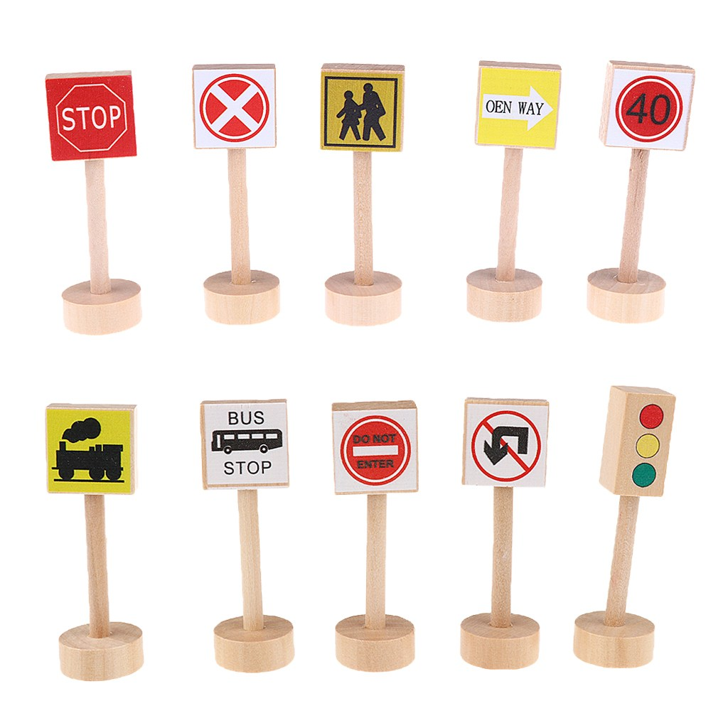STK다채로운 나무 거리의 교통 표지판 키즈 어린이 교육 장난감 세트 선물