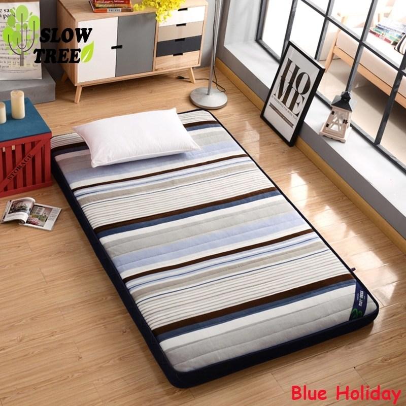 원룸 매트리스 허리에좋은 자취 1인용 접는 침대 손님용 바닥용 슬로우 트리 플란넬 퀸, 90x200cm, BlueHoliday