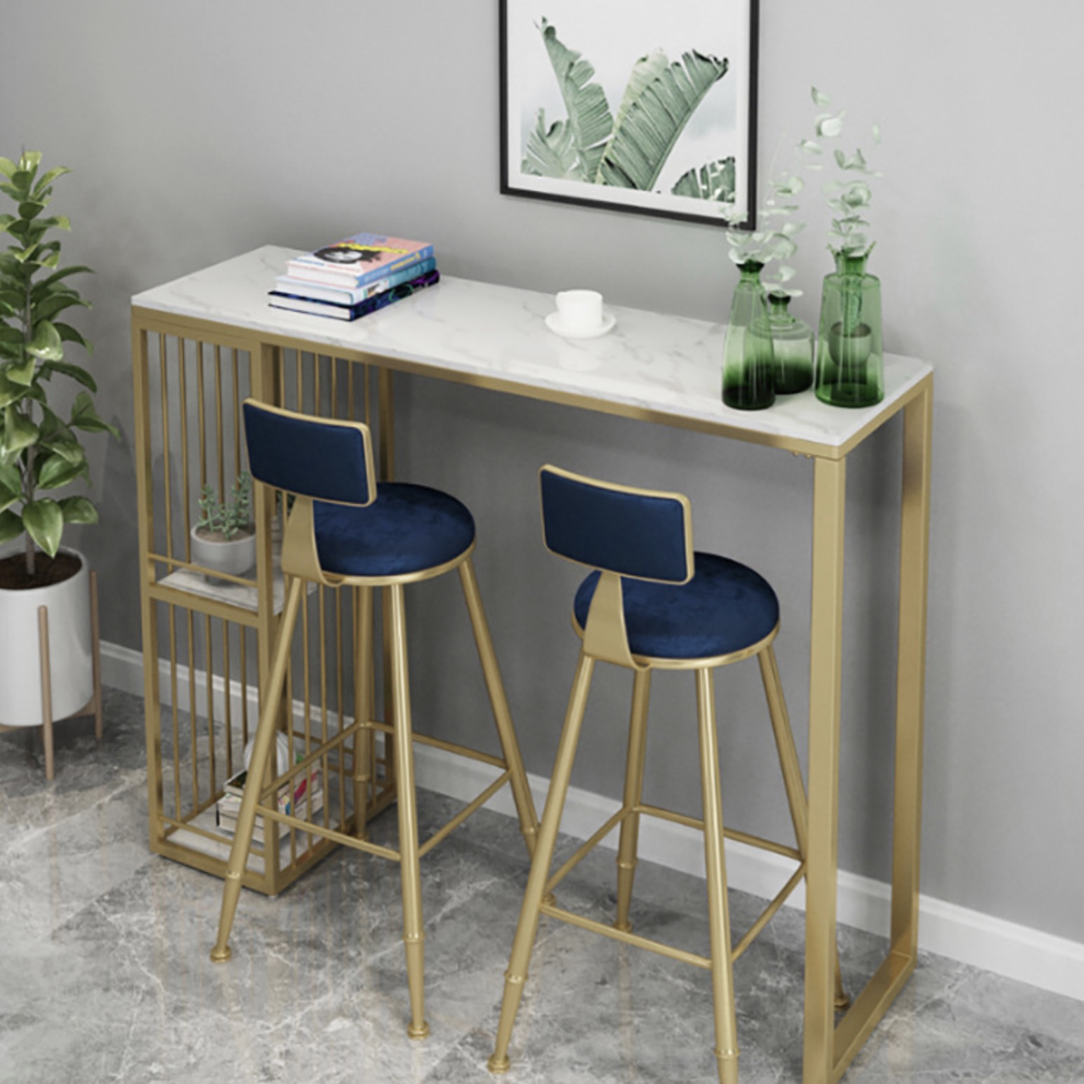 메리로이 북유럽 골드 벨벳 홈바 테이블 의자(단품 세트구매가능), 의자딥그린