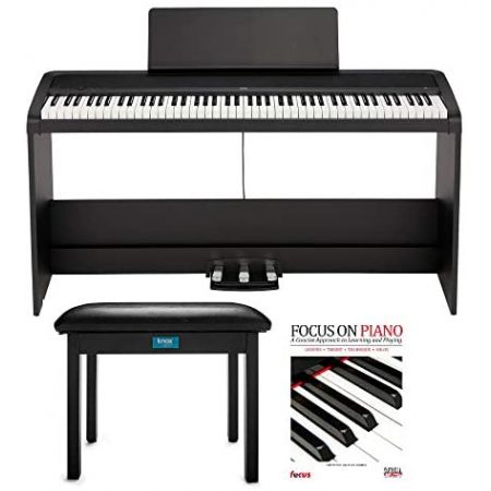 KORG B2SP 88-Key Digital Piano Bundle with Stand Three-Pedal Unit Knox Gear Piano Bench and Piano, One Color_One Size