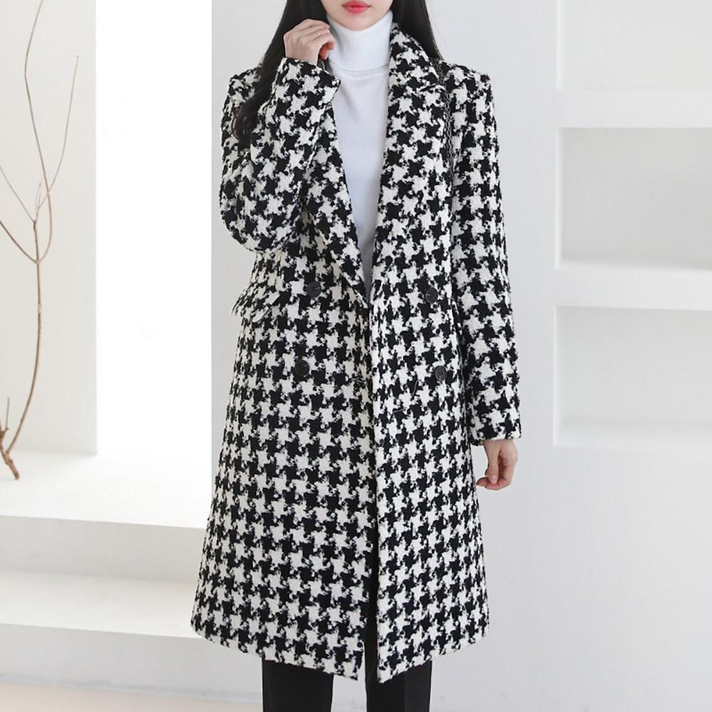 핫템퀸 겨울신상 여성 하운드 여자체크코트 여자롱코트 여자겨울코트 하객패션
