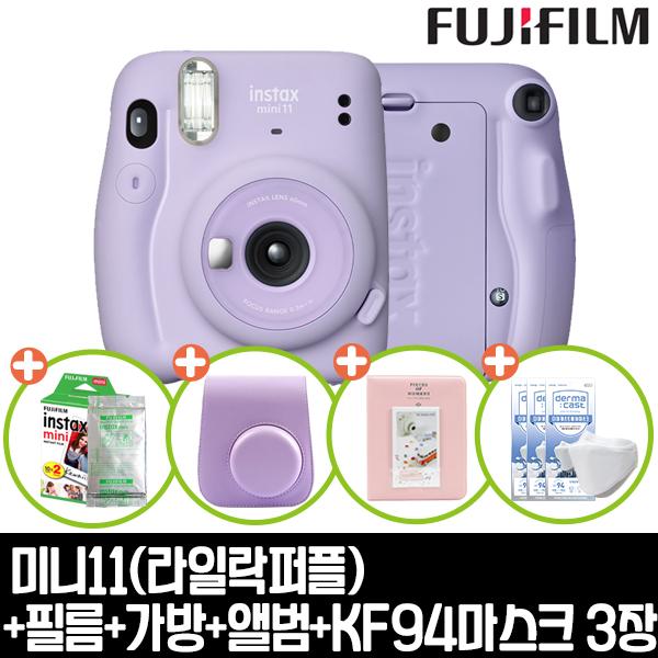 인스탁스 미니11카메라+전용가방+미니1p(랜덤)+하드앨범+KF94마스크 3개 즉석카메라, 1개, 라일락퍼플