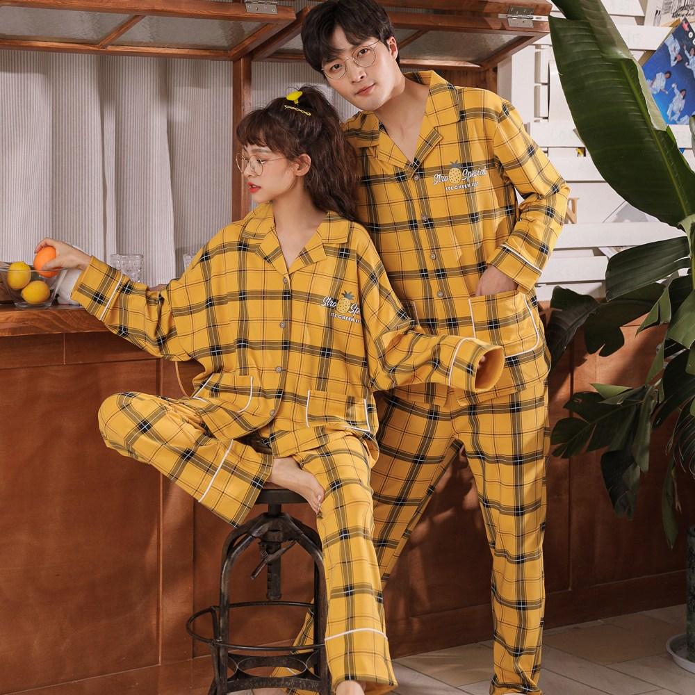로리돌스 옐로우 스퀘어 체크 오버핏 순면 커플잠옷
