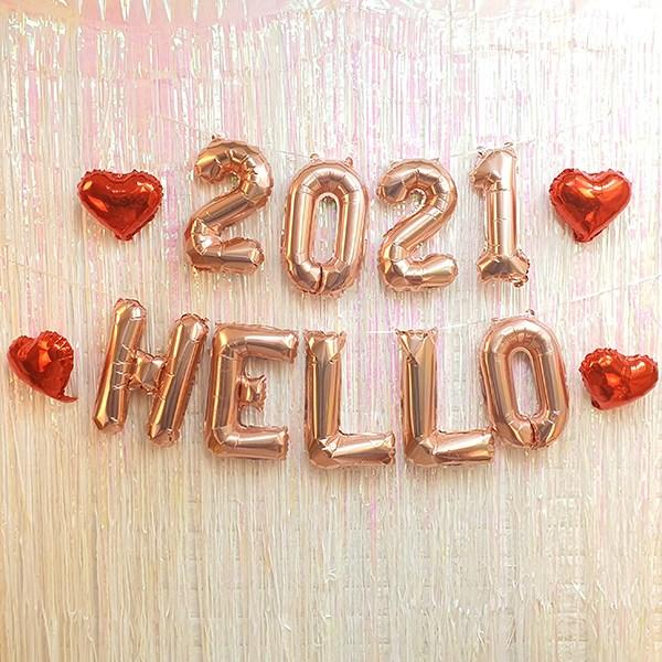 헬로우2021풍선세트 hello2021 파티장식 홈파티 신년파티 숫자풍선 알파벳풍선, 헬로우2021
