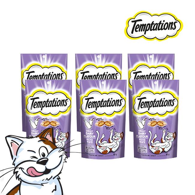 한국마즈 마성의 고양이 간식 템테이션 85G 6종[태국산 리뉴얼 무료배송], 부드러운 우유맛 85G, 6팩